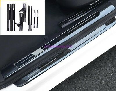 Black titanium Welcome Pedal Door Sill Scuff Trim Panel For Audi A6 2016-2018