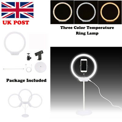 UK Portable 128 LED Studio Dimmable Ring Fluorescent Flash Light with Light