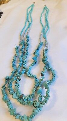 Southwestern U.S. turquoise nugget necklace, 3 strands