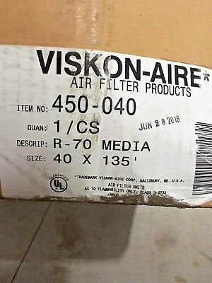 """Air Filter Media, R-70 Roll, 40"""" Wide X 135' Long, 1/2"""" Thick, One Roll"""