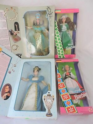 Lot of 4 Barbies Egyptian Queen French Lady German Irish  New in Boxes