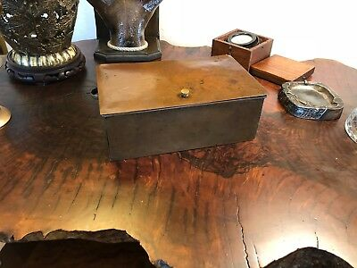 Antique Rough Arts & Crafts Orig Heavy Hand Made Rolled Copper Lid Hinged Box