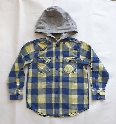 Bluezoo Debenhams Boys Hooded Blue/Yellow/Grey Multi Shirt, 6 Years, 116 Cm