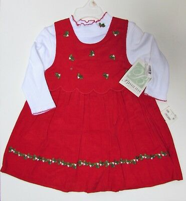 Toddler Girl Holiday Christmas Red Jumper Dress featuring Holly NWT  Bonnie Jean