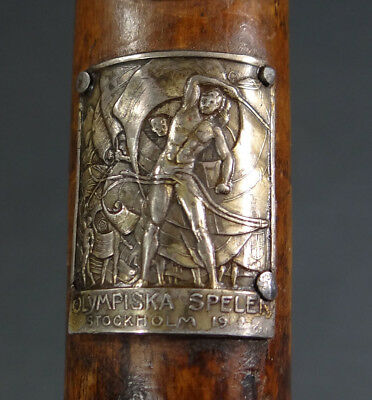 Antique Austrian Tyrolean Bentwood Waking Cane w 1912 Stockholm Olympic Badge