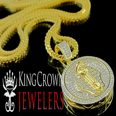 Real Diamond Egyptian Pharaoh King Tut Mini Pendant Charm +Chain 10K Gold Finish