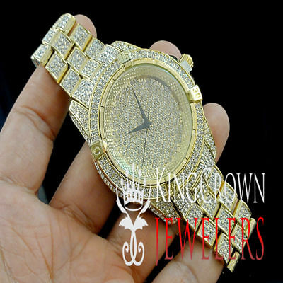 Hip Hop Iced Out Gold Tone Techno Pave Watch Simulated Crystal