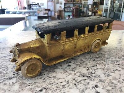 "Antique Cast Iron Arcade 1928 Yellow Parlor Coach Bus *rare* 10"" Size Truck"