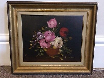 R. Rosini  Still Life Flower Painting In Frame