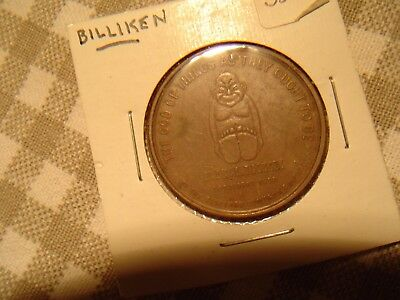 Vintage 1908 BILLIKEN Good Luck Token Pocket Piece Copper Coin Medal Lucky Charm