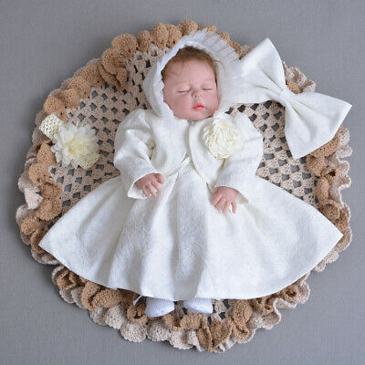 Beaded Embroidery Baby Christening Lace Gown Bow Baptism Dress with Coat Bonnet