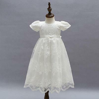 Vintage Baby Girl Baptism Dress Ivory Embroidery Toddler Christening Lace Gown