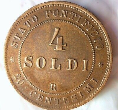 1866 ITALIAN STATES (VATICAN) 4 SOLDI - AU - Awesome Large Rare Coin - Lot #924