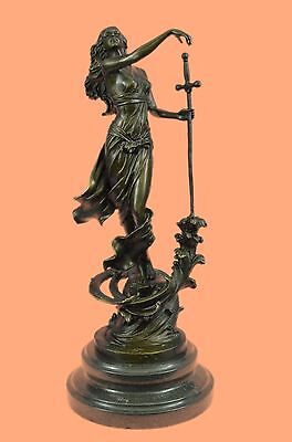 Ancient Greek Mythology Beautiful Girl w/ Sword Signed Bronze Statue Figure Art