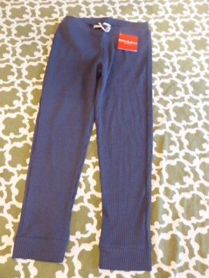 NWT Hanna Andersson Girl 10-12 150cm Blue/Gray Ribbed Cotton Spandex Capri Pants