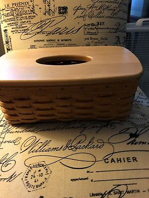 Retired Longaberger Long Tissue Basket with  Plastic Protector. Classic Stain