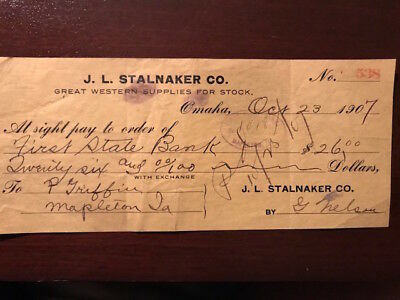 Vintage cashed voucher check J L Stalnaker Co, Omaha, NE to Business in IA, 1907