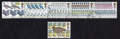 Great Britain: The Twelve Days of Christmas; fine used strip of 5 + 9p value