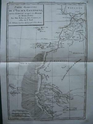 1780s - BONNE - Map NORTH WESTERN AFRICA coast  MOROCCO  CANARY & CAPE VERDE Is.