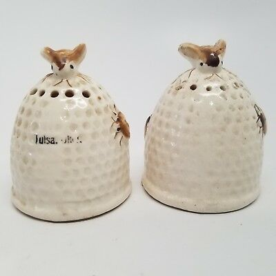 Vintage 1930s Bee And Honeycomb Salt And Pepper Shakers Japan Tulsa Oklahoma