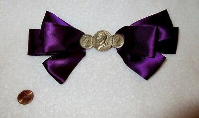 Large Purple Ribbon Gold Coins Barrette Hair Clip Bow Vintage France --Minty!