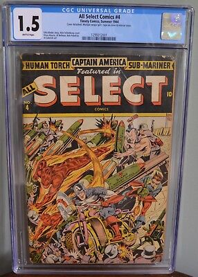 Cgc 1.5 All Select Comics #4 (Timely, 1944)Wwii Schomburg Cover. Captain America