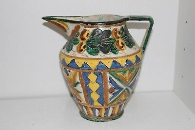Vintage Hand Made/painted Art Pottery Pitcher-Italy