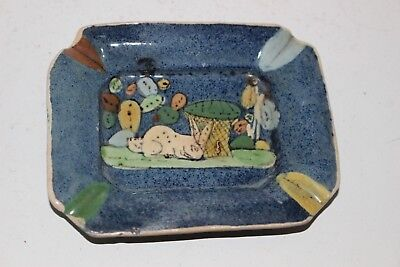 """Vintage Hand Painted Mexican Tlaquepaque Tourist Pottery Small 3.75"""" Ashtray"""