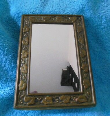Small Antique Brass Framed Mirror Arts & Crafts