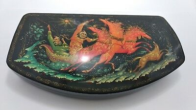 Vintage Russian Hand Painted Lacquer Box Troika Palekh Signed Osak. A