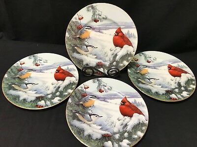 "Lenox ""WINTER GREETINGS"" ~ Set of 4 ~ Accent Plates ~ Cardinal & Nuthatch"