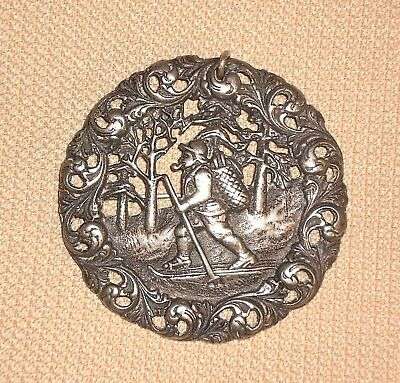 Vintage Norway Silver 830s Ornate Brooch Skier S.I. Norsk Monster NM Signed 944j