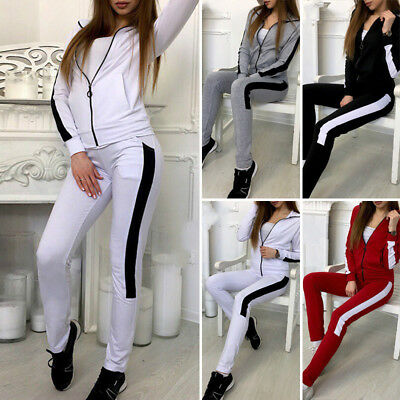 Femme Survêtement Sweat à Capuche Sweat Fermeture Éclair Pantalon Jogging  Sport 861fb2a7092