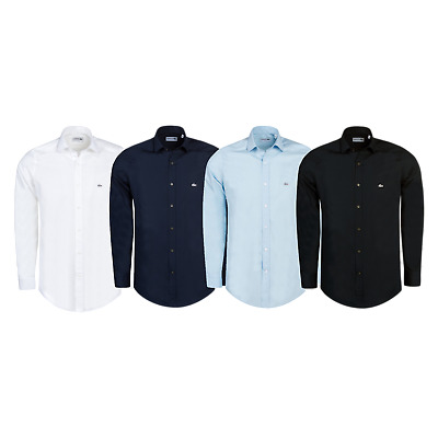 New Mens Shirt Lacoste Slim Fit Long Sleeve Collared Casual Top S M L Xl Xxl