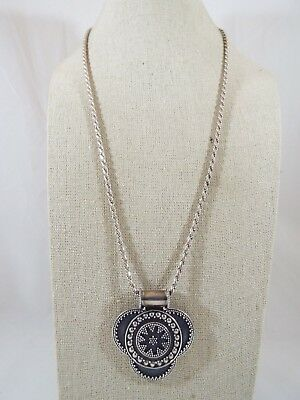 Milo by Artune Sterling Silver Bali Style Beadwork Pendant Rope Chain Necklace