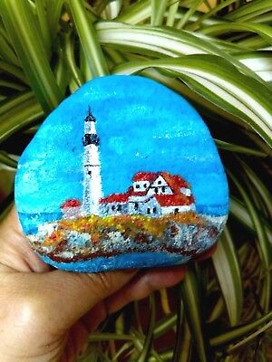 Original Hand Painted rock stone - Portland Lighthouse rock Paperweight /Gift