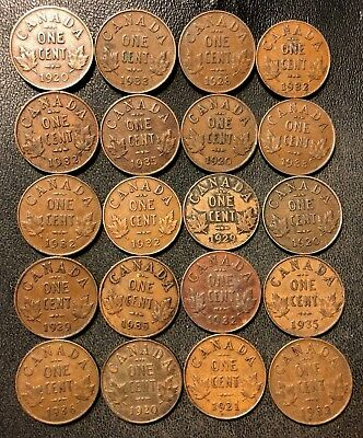 Old Canada Coin Lot - 1920-1936 - 20 Small Cents - Rare Coins - Lot #925