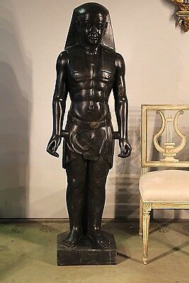 Art Deco antique statue real marble sculpture Ancient Egyptian Pharaoh Regency