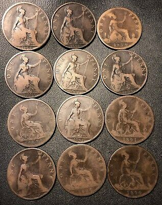 Vintage Great Britain Coin Lot - 12 VICTORIAN LARGE Pennies - 1879-1901 -Lot 925