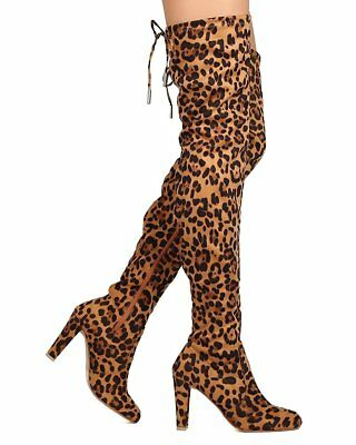 8bf64298b3c Nature Breeze Womens Stretchy Thigh High Pull String Chunk Heel Combat Boots
