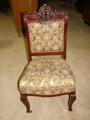 Antique Early 1900's Mahogany Parlor Side Chair with Carvings