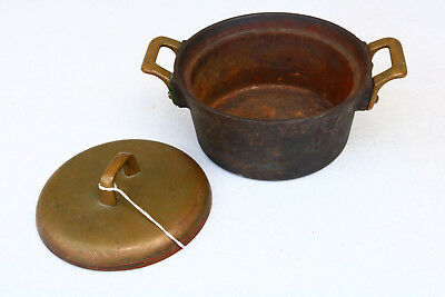 Very Old Very Heavy Asian Cast Iron Pot Cookware Small Brass Handles