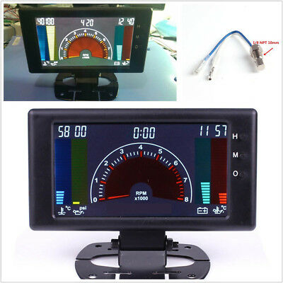 "5"" LCD 6in1 0-100PSI Oil Press Meter Tachometer 0-8000 RPM Clock Oil Temp Gauge"