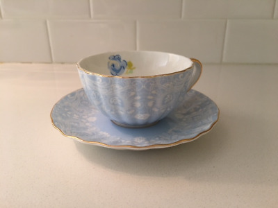 Jusalpha Powder Blue With Blue Rose Cup And Saucer Bone China