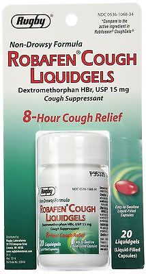 ROBAFEN Dextromethorphan Cough Gels 8hr Relief 20ct ( 2 pack )