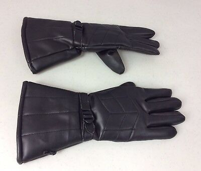 FAUX Leather Black Winter Gloves Shearling Fleece Lined Very Warm