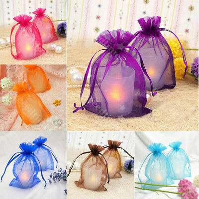 25/100X Sheer Organza Gift Bags Boxs Candy Jewelry Packaging Mesh Wedding Party