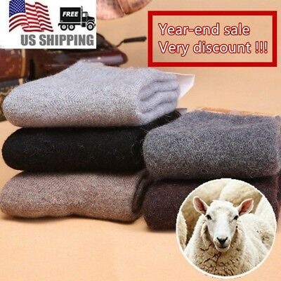 5 Pairs Men's Wool Angora Rabbit Casual Dress Warm Thick Solid Terry Socks Lot