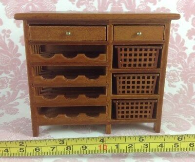 Dollhouse Miniature Furniture Wood Brown Drawers Shelf Wine Cabinet 1:12