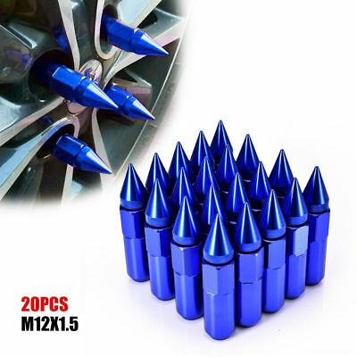 20PCS 60mm Aluminum Wheels Rims Lug Nuts M12X1.5 Cap Spiked Extended Tuner GD